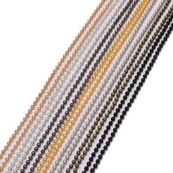 5 m/partia 1.2 1.5 2 mm metalowa kula łańcuszki z koralików luzem złoty/czarny Link łańcuchy dla Diy naszyjniki bransoletki tworzenia biżuterii Supplie