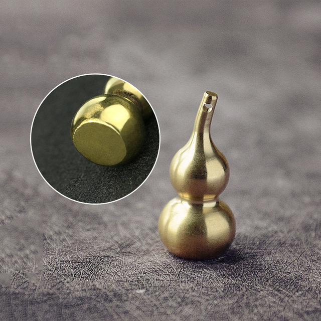 Mini Brass Gourd Statue Ornament Pendant Bless Peace Pocket Figurines Home Office Desk Decorative Ornament Key Pendant Toy Gift 4