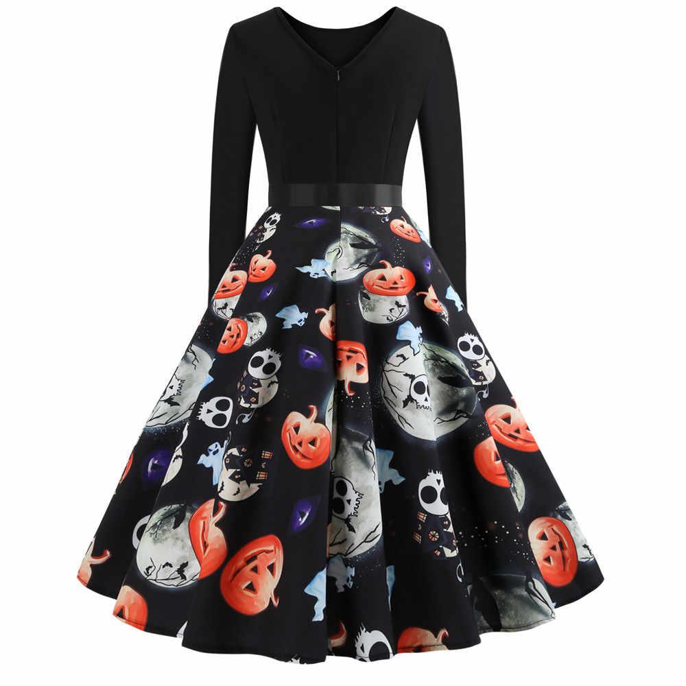 Fashion Musim Panas Musim Gugur Mimpi Buruk Sebelum Natal Gaun Lengan Panjang Tengkorak Cetak Wanita Pesta Halloween Gaun Vintage Pinup F819