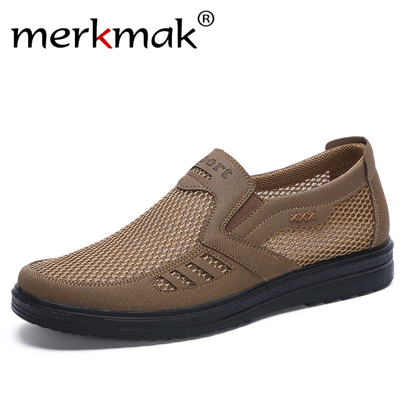 Merkmak Fashion Summer Shoes Men Casual Mesh Shoes Large Sizes 38-48 Lightweight Breathable Slip-On Flats 2020 New Men Sneakers