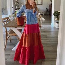 Elegant Square Collar Long Dress Women Autumn Spring Patchwork Long Sleeve Party Dress Print Slim Ladies Dresses Vestidos