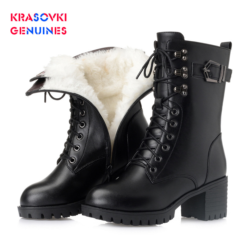 Cheap Krasovki Genuines Wool Women Women Boots Warm Fur Warm Genuine Leather Shoes Plush Ankle Boots Platform for Women Snow Boots