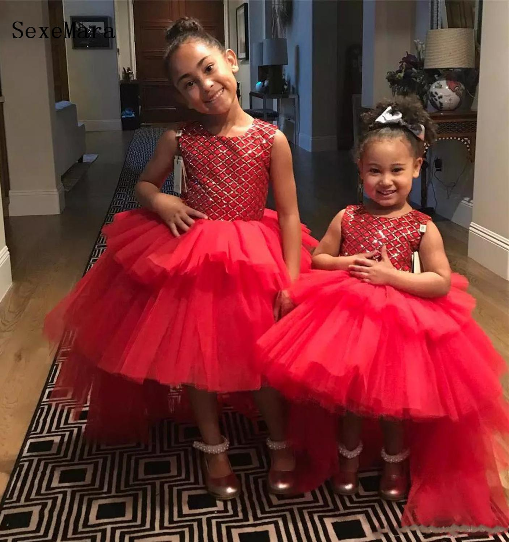 Rouge fleur fille robes volants paillettes bouffantes Tulle Tutu 2019 petits bébé filles robes pour fête d'anniversaire taille 9M 12M 18M 24M