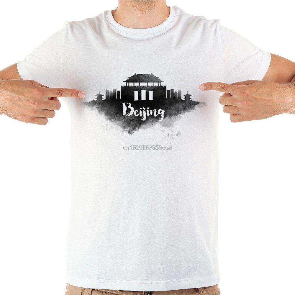China beijing Taipei watercolor landmarks funny t shirt men summer new white casual homme cool tshirt(China)