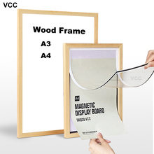 Nature Wooden Photo Picture Frame A4 A3 Magnetic Plexiglass with Mats for Wall Poster Certificate