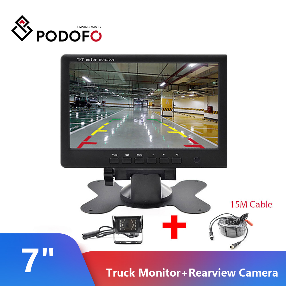 Podofo-Monitor para coche de 7 pulgadas, Monitor TFT LCD para camión con cámara trasera, sistema de estacionamiento, compatible con PAL/NTSC, Retrovisor Com, cámara
