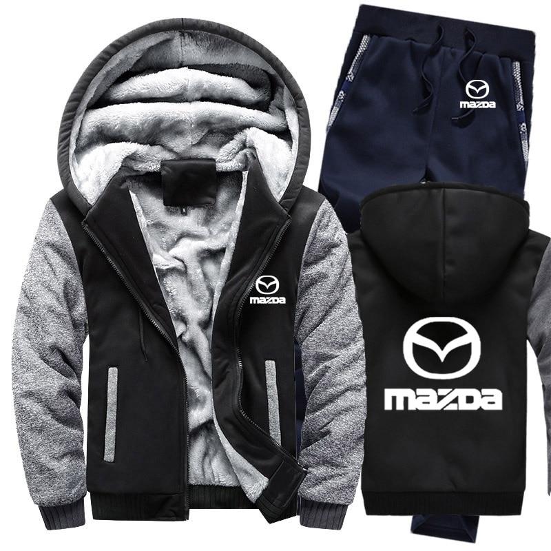Hoodies Men Mazda Car Logo Mens Hoodies Suit Winter Thicken Warm Fleece Cotton Zipper Tracksuit Mens Jacket+Pants 2Pcs Sets