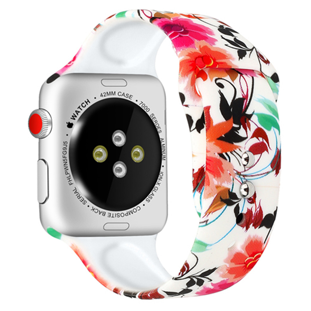 Silicone Strap For Apple Watch band 44mm 40mm pulseira iwatch 42mm 38mm Printing women bracelet apple Watch series 5 4 3 2 1 1