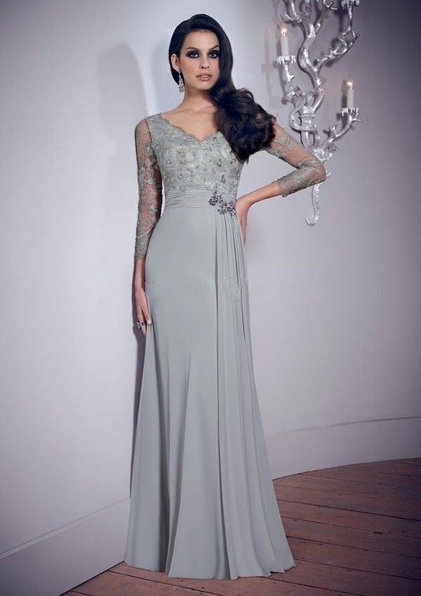 Charming Bridal Cheap Sheath Capped Three Quarter Lace Applique Crystal Floor Length Chiffon Long Silver Mother Of Bride Dresses