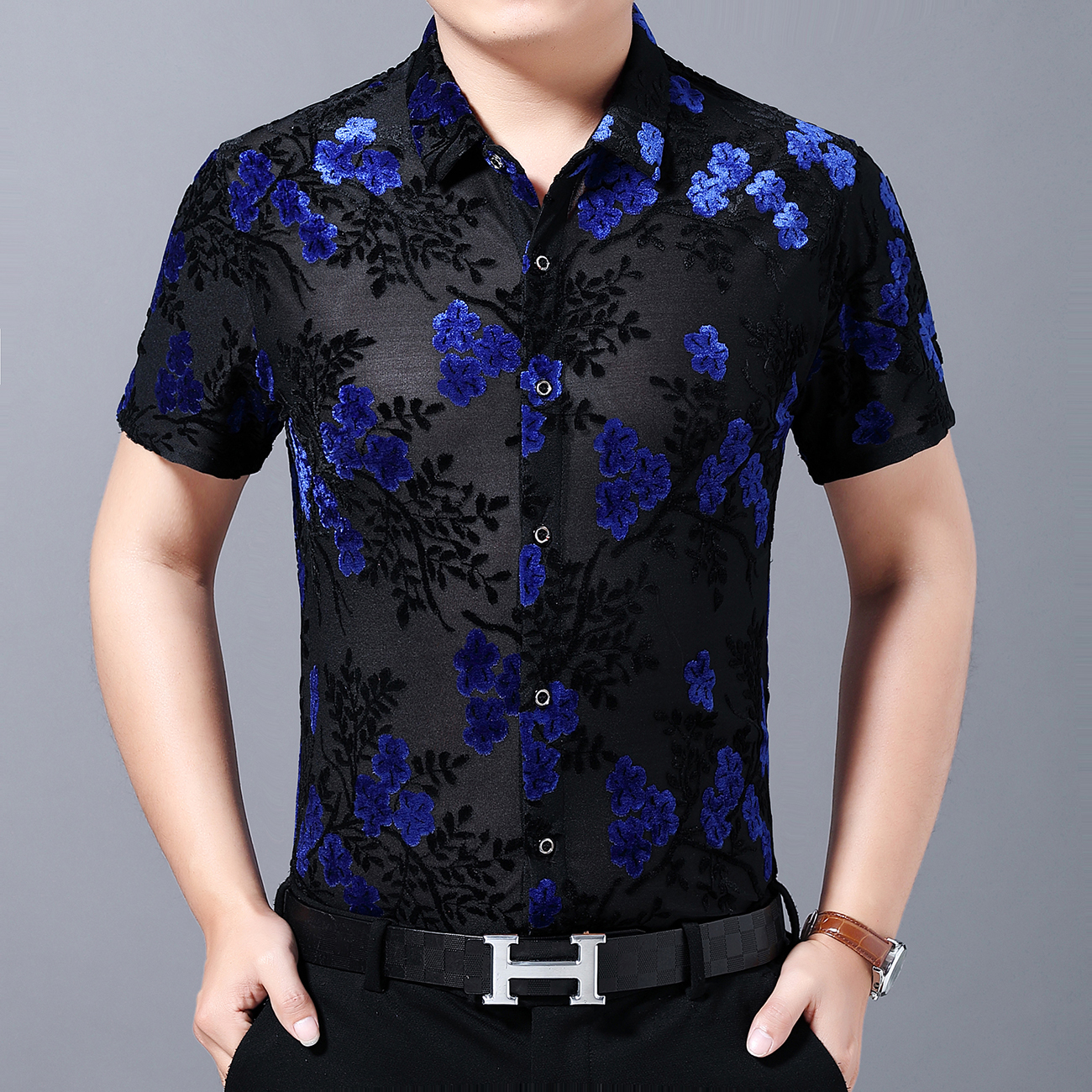 2020 Spring Mannen Kleding Short Sleeve Slim Fit Sexy Transparent Shirt Men Flower Print Velvet Shirt Club Chemise Homme
