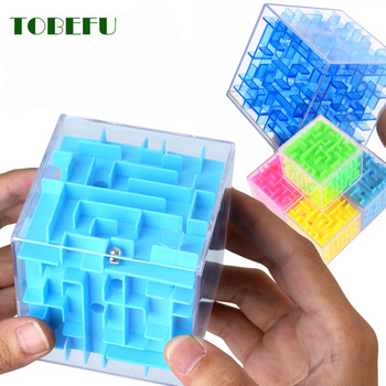 TOBEFU 3D Maze Magic Cube Transparent Six-sided Puzzle Speed Cube Rolling Ball Game Cubos Maze Toys for Children Educational 1