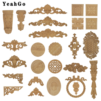 YeahGo European-style solid wood flower wood carving Round applique Furniture Home Wall decorative decal accessories Part-one 1