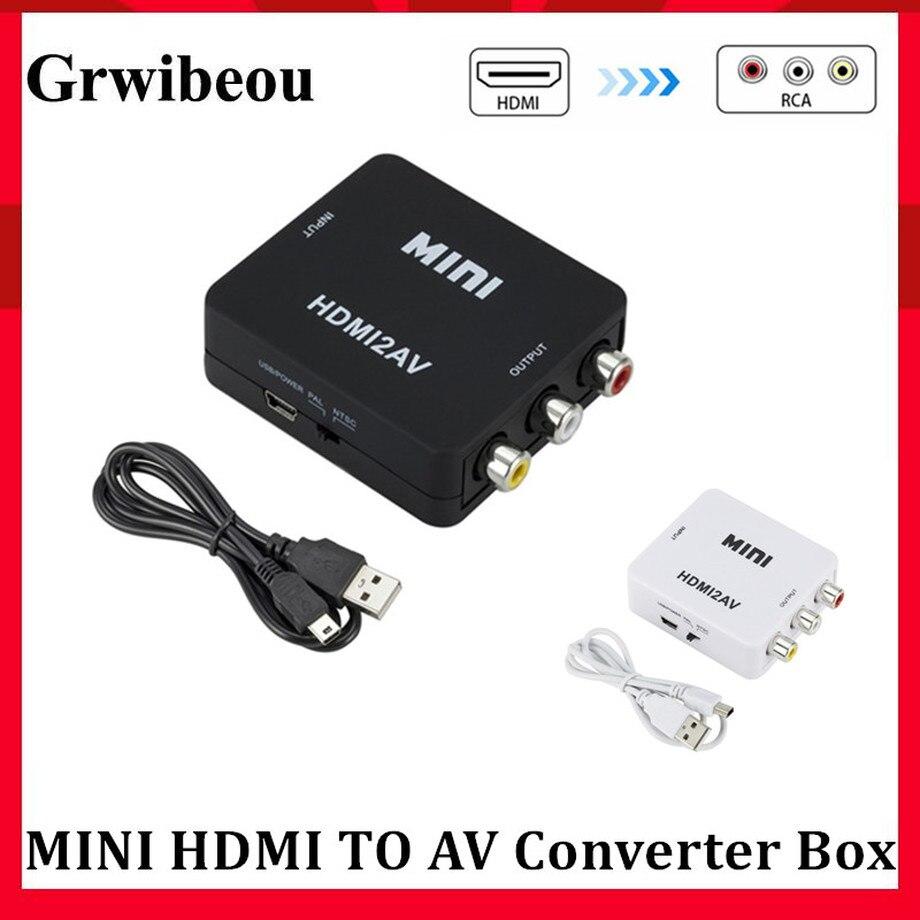 Grwibeou HDMI TO AV Scaler Adapter HD Video Converter Box HDMI to RCA AV/CVSB L/R Video 1080P HDMI2AV Adapter Support NTSC PAL