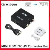 Grwibeou HDMI ZU AV Scaler Adapter HD Video Converter Box HDMI zu RCA AV/CVSB L/R Video 1080P HDMI2AV Adapter Unterstützung NTSC PAL