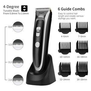 Image 1 - CkeyiN נטענת שיער קליפר שיער גוזם עם LED תצוגת שקט קרמיקה סכין תשלום מהיר תספורת מכונה חיוב תחנות