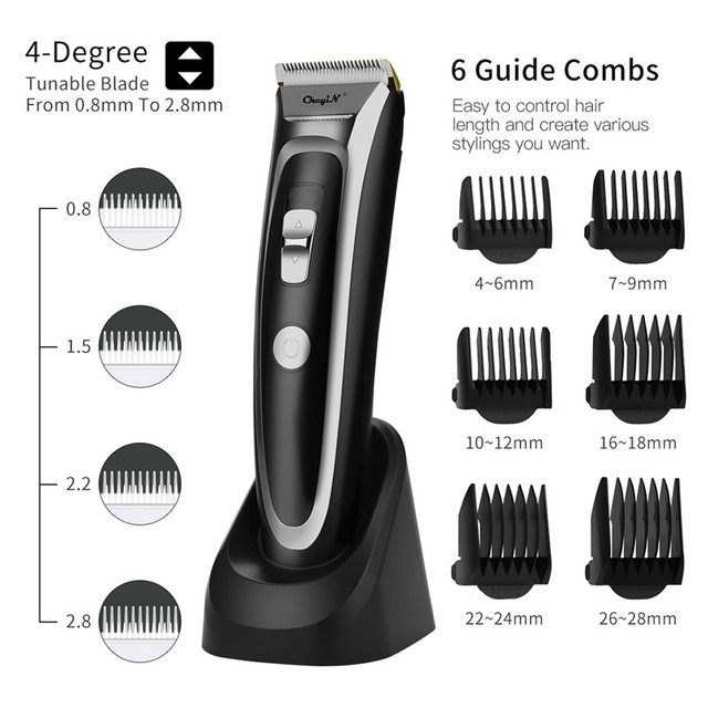 CkeyiN נטענת שיער קליפר שיער גוזם עם LED תצוגת שקט קרמיקה סכין תשלום מהיר תספורת מכונה חיוב תחנות