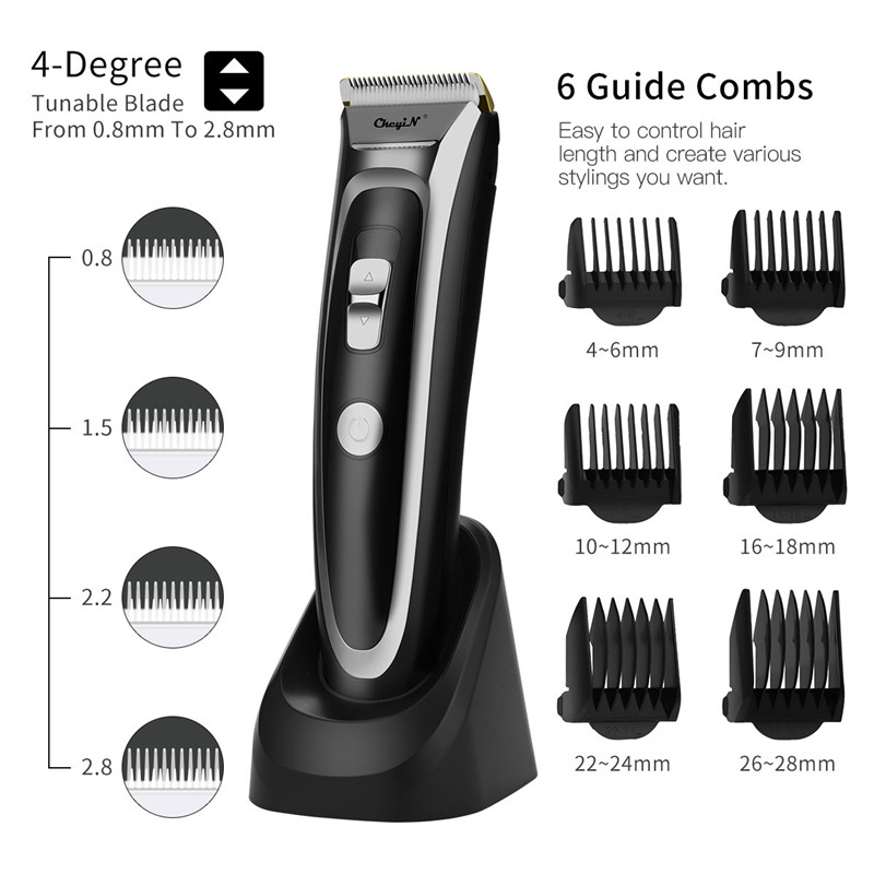 CkeyiN Rechargeable Hair Clipper Hair Trimmer with LED Display Silent Ceramic Knife Fast Charge Haircut Machine Charge Station