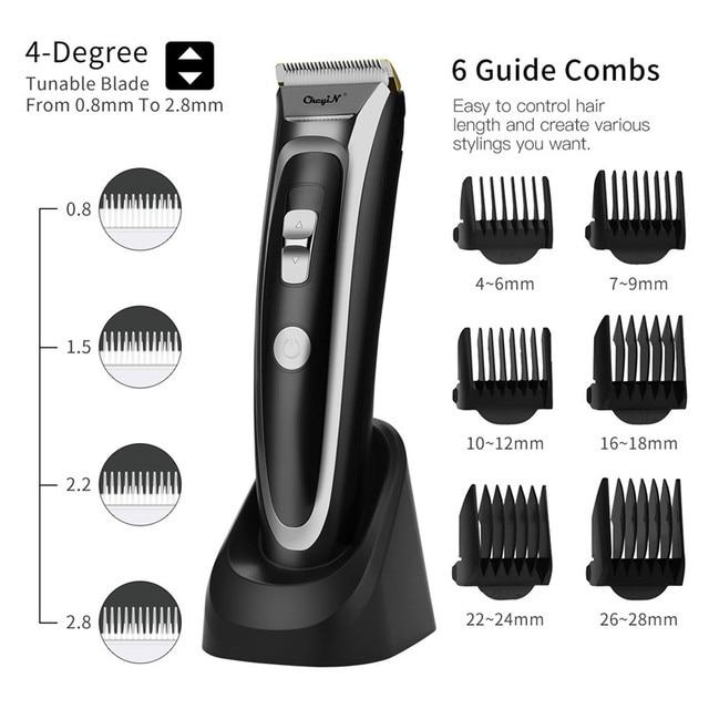 Аккумуляторная машинка для стрижки волос CkeyiN, светодиодный триммер для волос с тихим керамическим ножом