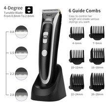 Ckeyin máquina de cortar cabelo recarregável, aparador de cabelo com display led, silencioso, de cerâmica, para carregamento rápido