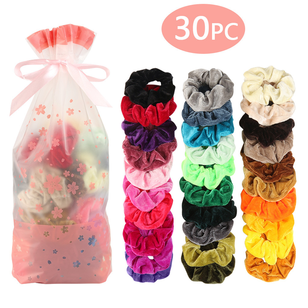30Pc Colorful Knotted Ribbon Elastic Hair Tie Hairband Ponytail Holder Bracelet