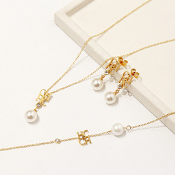 High quality fashion titanium steel accessories glossy CHC letter pearl necklace earrings bracelet jewelry set