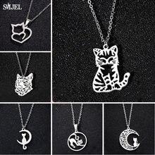 Colliers en acier inoxydable chat chaton coréen, bijoux Long chat lune pour femmes, collier de mariage