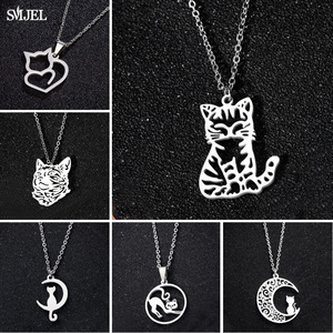 Stainless Steel Cat Necklaces Korean Kitten Jewelry Long Cat Moon Necklaces For Women Wedding Kolye Collares