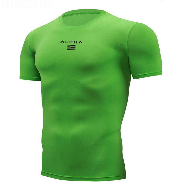 シャツオムランニング男性デザイナークイックドライ Tシャツ実行フィットトップス Tシャツスポーツメンズフィットネスジム Tシャツ筋肉 Tシャツ 2019