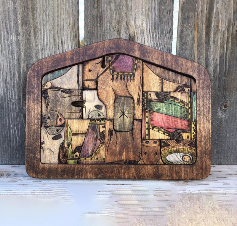 1Set Wooden Jesus Puzzles Nativity Puzzle Game with Unique Wood Burned Design Home Decor Craft Adults Kids Gift Desk Figurines
