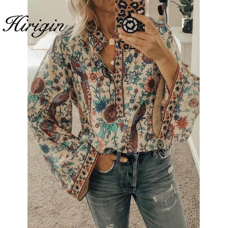 Women Boho Floral V-Neck Long Lantern Sleeve Blouse T Shirt Tops Plus