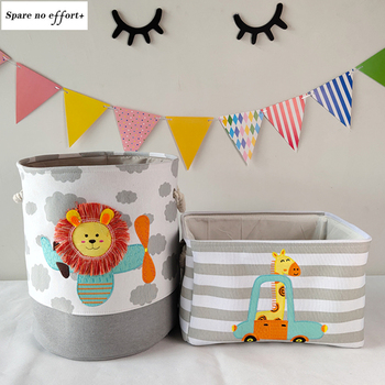 Baby Toys Storage Box Canvas Basket Cute Cartoon Lion Giraffe For Kids Dirty Clothes Bucket Organizer Laundry Bag - discount item  53% OFF Home Storage & Organization