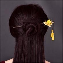 Retro creativo amarillo sintético flor pelo cómodo joyería Personal elegante gota de agua colgante palo de madera