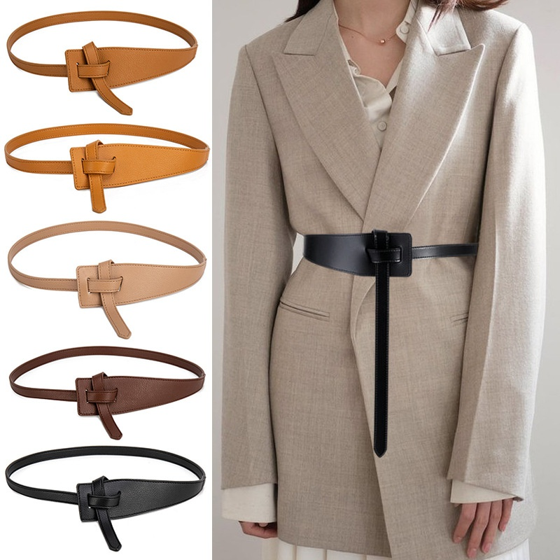 Cinture in pelle Pu nodo per donna cintura con cinturino annodato morbido accessori per abiti lunghi cinturini da donna