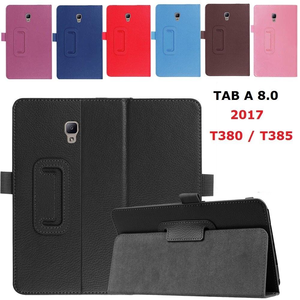 Магнитный чехол-подставка для Samsung Galaxy Tab A 8,0 дюйма, 2017 дюйма, умный чехол из искусственной кожи с функцией автоматического сна для Samsung T380, T385,...