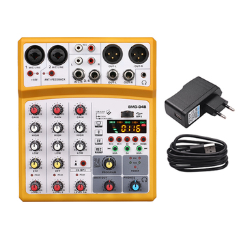 4 channel mixer audio interface dj mixing console karaoke with usb bluetooth powered by usb buses and mobile charger - Yellow EU Plug
