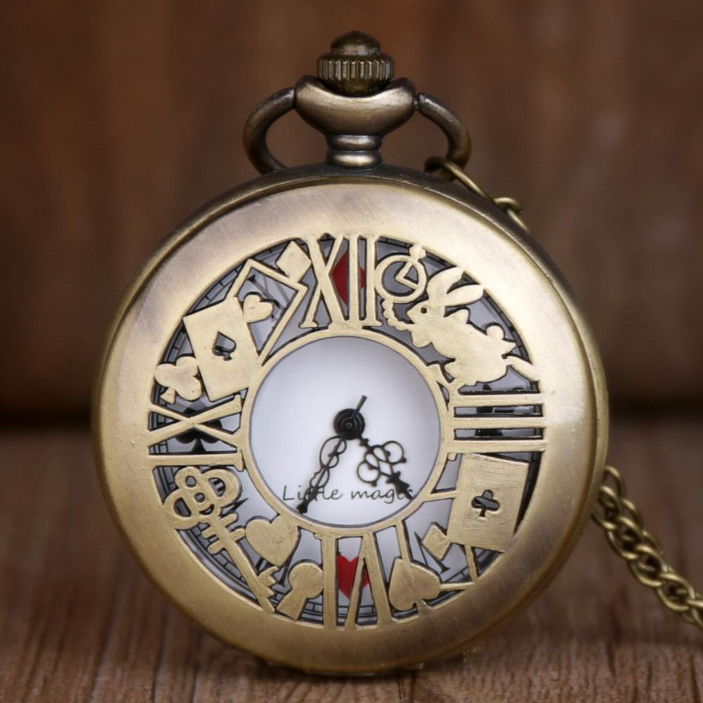 Fashion Bronze Quartz Pocket Watch Alice In Wonderland Pocket&Fob Watch Pendant Necklace Pocket Watch Men Women's Gift TD2073
