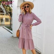 S.FLAVOR 보라색 싱글 버튼 여성 캐주얼 드레스 가을 패션 긴 소매 스탠드 칼라 Vestidos 우아한 여성 겨울 드레스