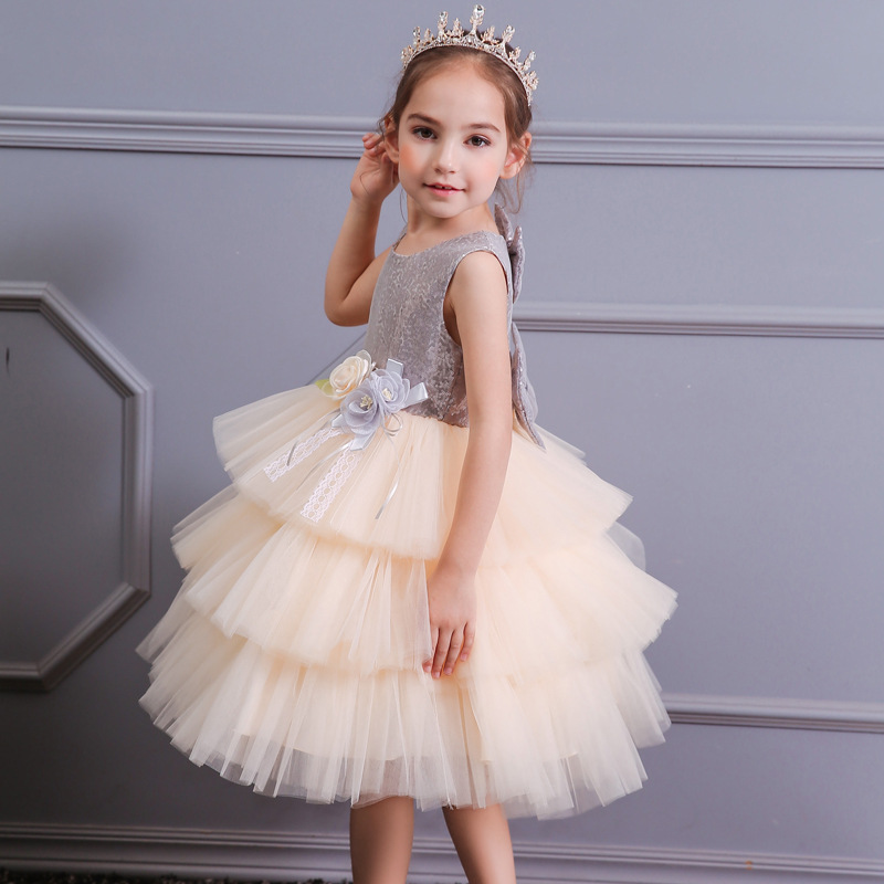 Summer New Style Europe And America Backless Cake Princess Dress Girls Bow Sequin Children-Style Formal Dress Costume