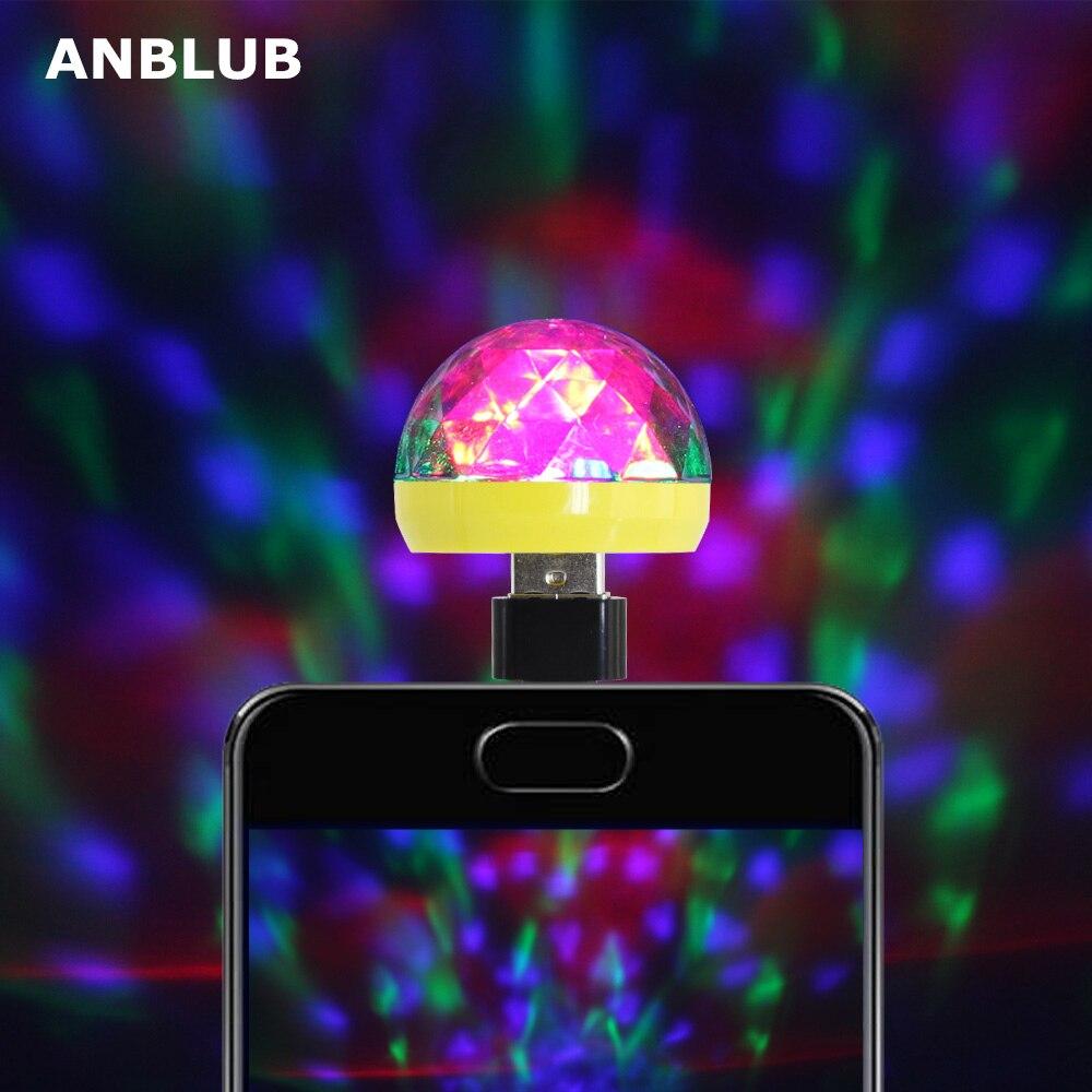 Anblub usb luz de palco disco música mágica bola lâmpada mudança cor clube festa efeito iluminação para casa telefone móvel pc power bank