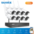 SANNCE 8CH NVR Ultra HD 2MP CCTV Wireless System IP66 Outdoor AI Human Wifi IP Security Camera Set Video Surveillance Kit