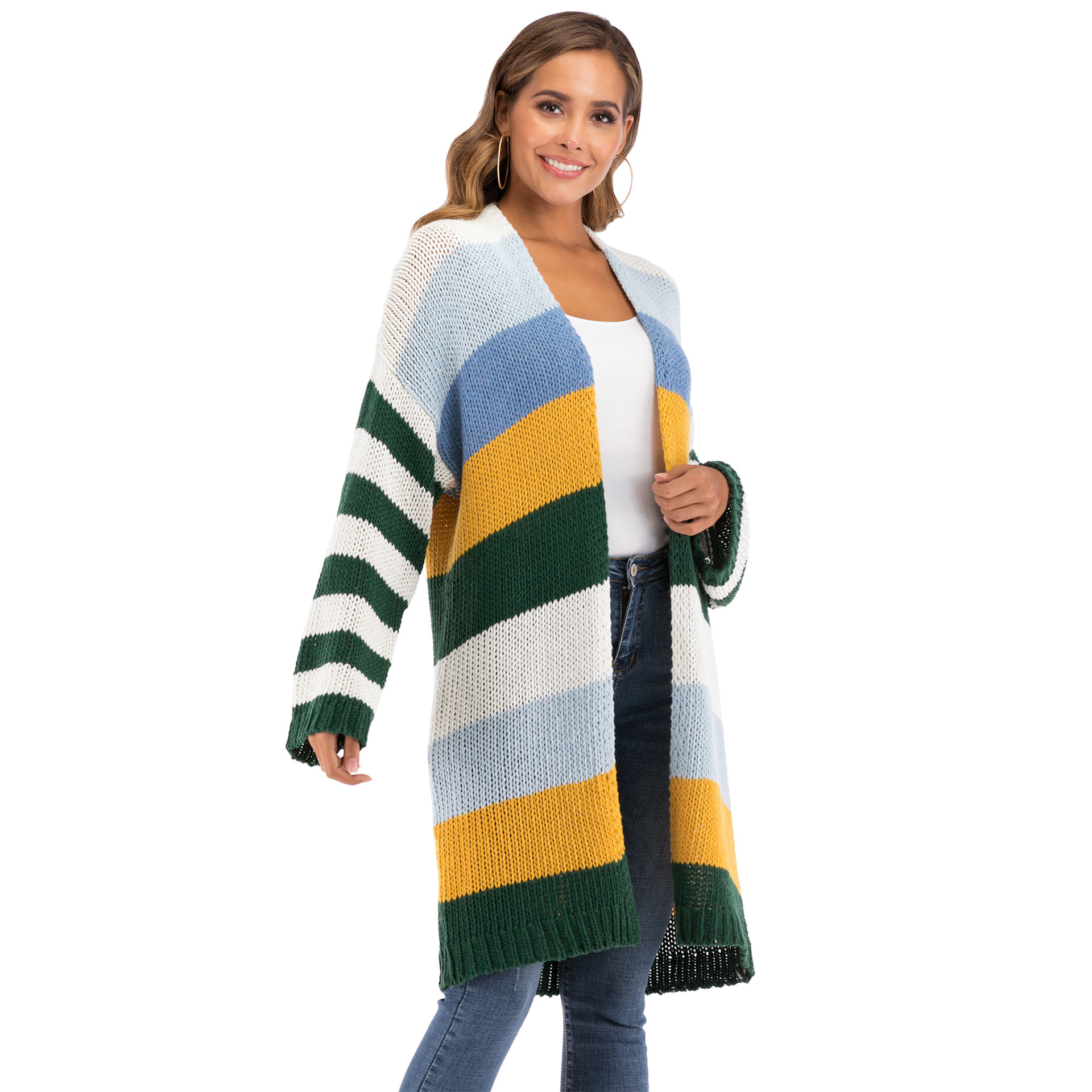 Women's Spring Knitting Cardigan Casual Long Joint Contrast Color Striped Oversize Knitted Sweater Cardigan Patched Outwear