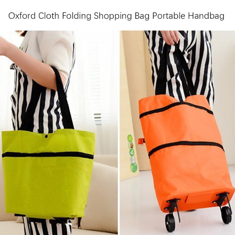 Oxford Cloth Folding Shopping Bag Portable Fashion Large Capacity Shopping Food Organizer Trolley Bag Female Women Lady Handbag
