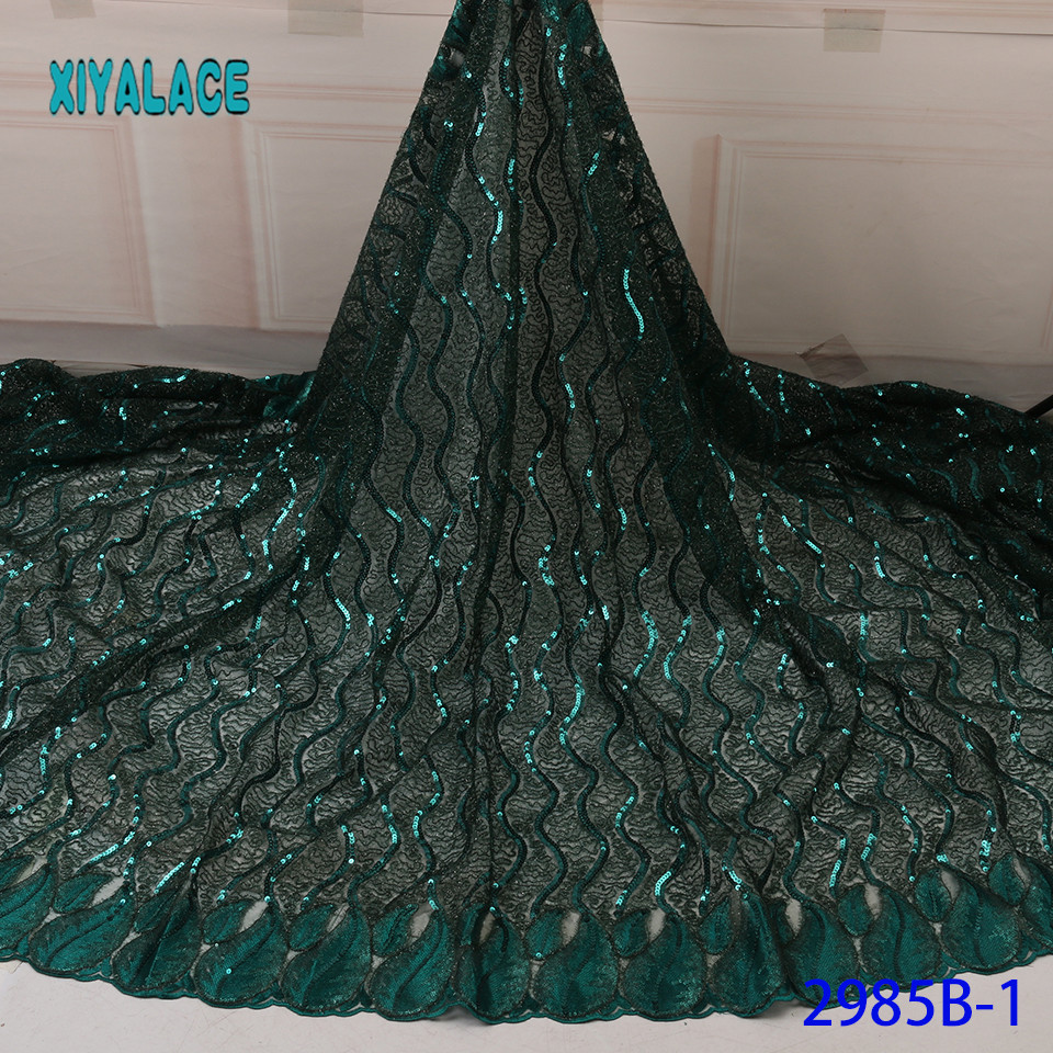 African Lace Fabric Sequins Lace Fabric Organza Nigerian Net Laces Fabric Bridal High Quality French Tulle YA2985B-1