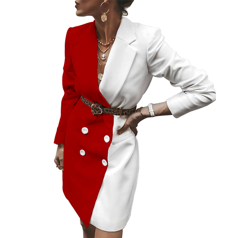 Women Notch Collar Colorblock Patchwork Blazer 2020 Spring Fashion Office Ladies Elegant Double Breasted Mini Blazers Dress