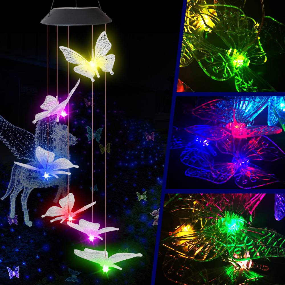 Color-Changing LED Solar Powered Butterfly Wind Chimes Light With Spinning Hanging Hook Home Garden Outdoor Holiday Lights Decor