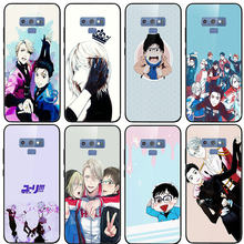 Tempered Glass Case untuk Samsung Galaxy A6 A8 A9 A10 A20 A30 A40 A50 A70 A80 A90 S8 S9 S10 plus Tas Kartun Yuri On Ice Yuri(China)