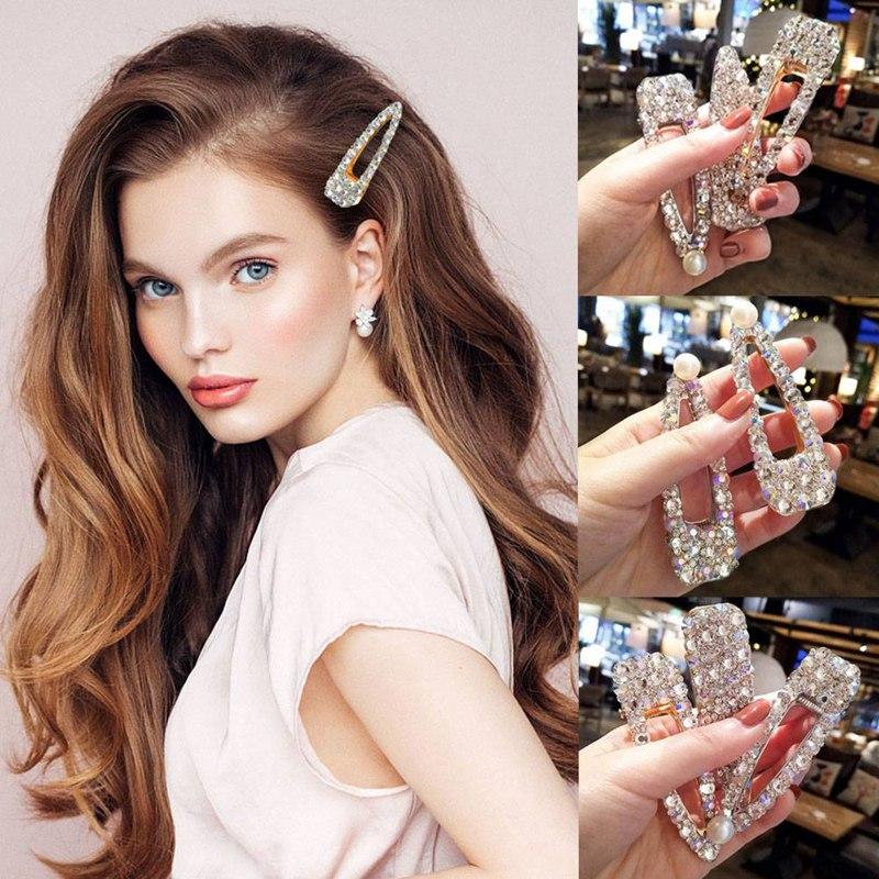 Super Flash Full Rhinestone Colorful Hairpins Crystal Pearl Barrettes Hair Clip Temperament For Girl Women Hair Accessories