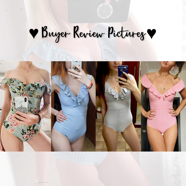 Striped One Piece Ruffled Swimsuit 8