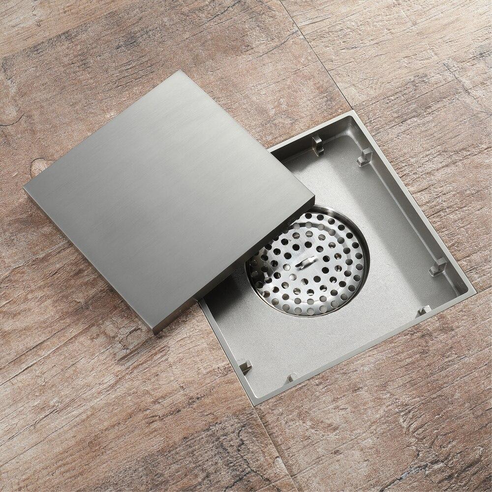 15*15cm brosse Nickel laiton bouchon pour évier bain crépine sol Drain douche Drain Siphon Anti odeur salle de bain toilette cuisine balcon - 2