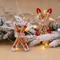Decoración de Navidad de trineo de madera para el hogar campana de esquí adornos de Navidad regalo de niños para el hogar Navidad decoración de fiesta de año nuevo 2019